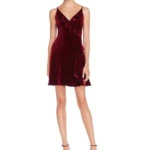 Aqua velvet ruffled wrap dress